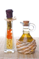 Decorative preserved vegetables and oil