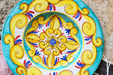 Closeup of a traditional sicilian pottery
