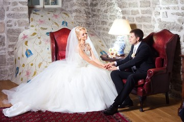 beautiful groom and bride in interior