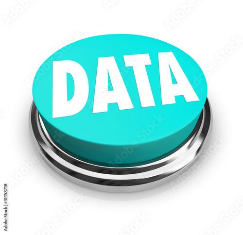 Data Word on Blue Round Button Information Measurement