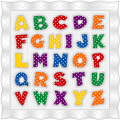 Alphabet Baby Quilt, gingham check, polka dots, satin border