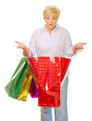 Senior woman with bags