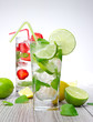 Mojito drink on wooden background