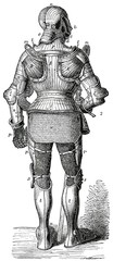 Knight in armor since Maximilian I. Rear View.