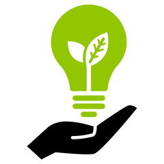 Hand holding green ecology light bulb, vector icon