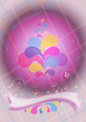 Convex purple ball and ribbon decoration