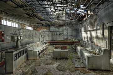 Control room of an abandoned coal mine