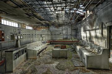 Control room of an abandoned coal mine