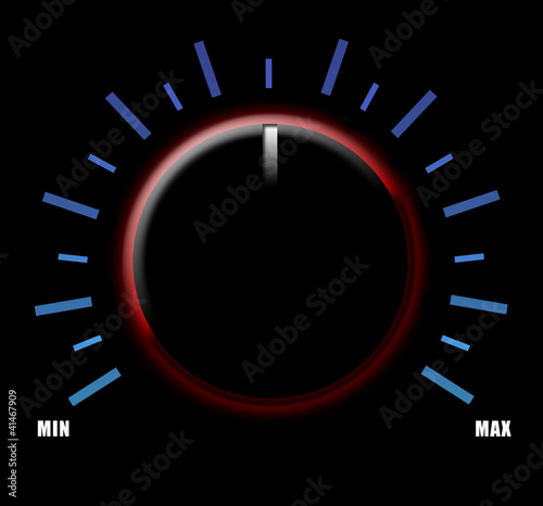 Volume knob on black background