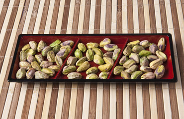 many delicious pistachio nuts kernels