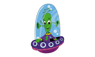 Cartoon Alien in UFO, outer space set (illustration)