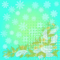 Flowers, leaves, feathers on blue and green