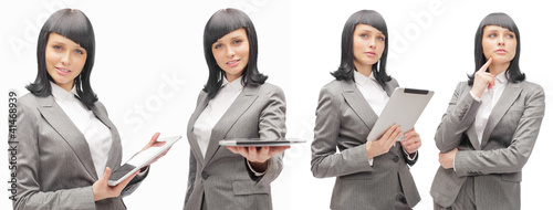 Business woman holding tablet computer isolated