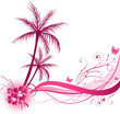 Palm tree with wave design