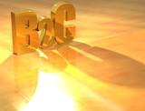 3D B2C Gold text poster