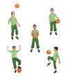 Boy with soccer ball collage