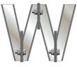 Metallic alphabet W isolated on white background