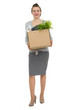Full length portrait of happy woman employee with box