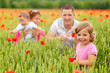 Young family in poppy field