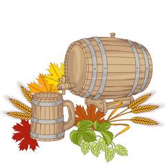 Vector illustration of a barrel, mug, wheat, hops.