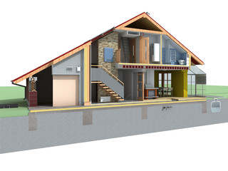 Perspective view of house in the section on white background.