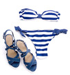 Striped bikini and spotted sandal