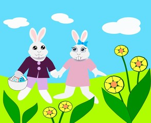 Easter bunnies walking together and holding hands.