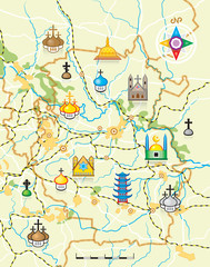 Geodesic Map of The Country with Religious Landmarks