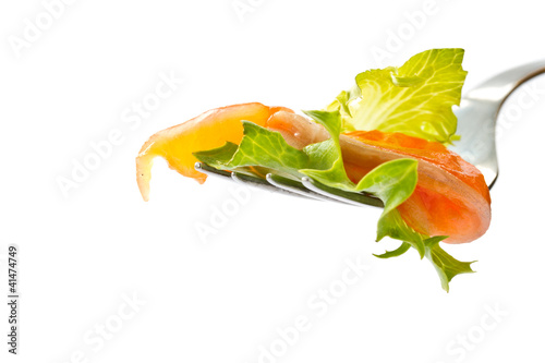 salad with salted salmon
