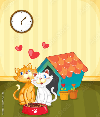 Tuinposter Katten Kittens in love