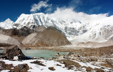 view of cho oyu with lake and cloud