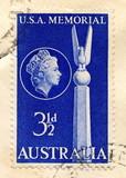 Canceled australian stamp