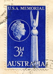 "Canceled australian stamp ""USA memorial"""