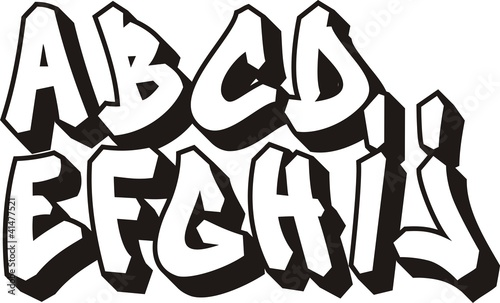 vector graffiti font alphabet (part 1)