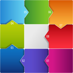 Conceptual vector illustration of cubes with arrows