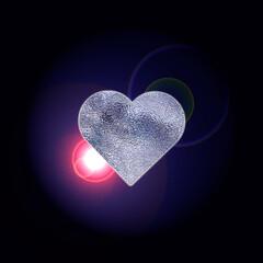 Coeur de diamant sur fond noir