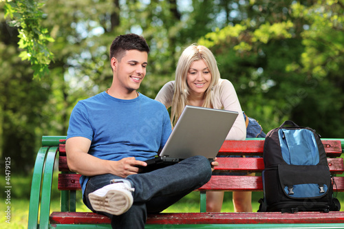 Young male and female working on a laptop in a park