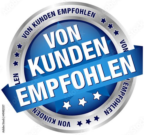 """Button Banner """"Von Kunden empfohlen"""" blau/silber"""