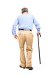 Full length portrait of a senior man with cane walking