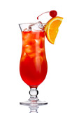Fototapety Red alcohol cocktail in with orange slice isolated