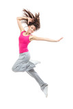 Modern teenage girl dancer jumping and dancing
