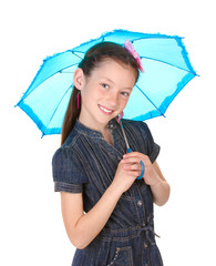 Portrait of beautiful little girl with umbrella Isolated