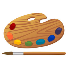 Wooden art palette with paints and brush