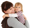 loving mother with son in her arms, white background