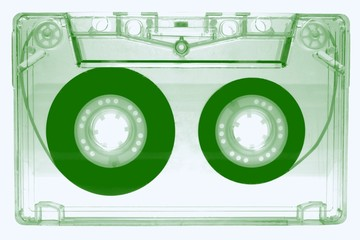 Audio cassette -green-  isolated on white background