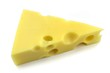 Swiss emmental cheese on white background