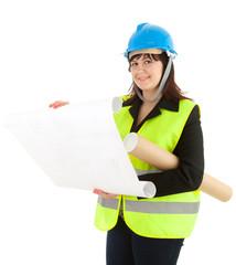 fat female architect reading blueprints
