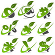 Swoosh symbols with leaf icon Set 5