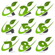 Swoosh numbers with leaf icon Set 4