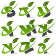 Swoosh alphabet with leaf icon Set 3